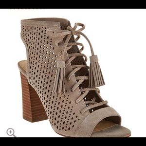 Marc Fisher Perforated Suede Lace-up Sandal Satire
